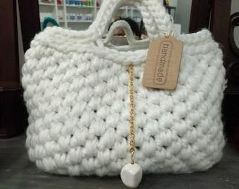 Couleur de sac à main, blanc, laine 80 %, entièrement fait main