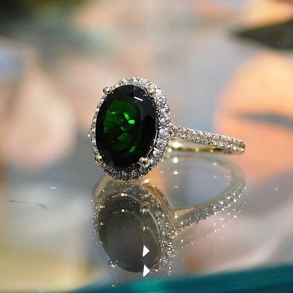 Green Tourmaline Ring / Size 6 / Pave Halo Diamond / Engagement / 10K Yellow Gold / 2.75 Carats