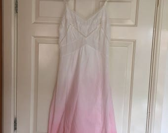 Vintage pink ombre hand dyed cotton slip dress size small