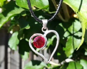 Sterling Silver Red Heart Pendant + Chain