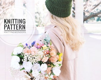 KNITTING PATTERN ⨯ Double Brim Beanie Hat, Slouchy Hat ⨯ Easy Knitting Pattern Slouch Hat Beanie Winter Hat ⨯ Easy Knit Pattern PDF