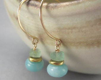 Earrings with Roman Glass and Blue Gemstone Drop  on Handmade 14K Gold Filled Wires