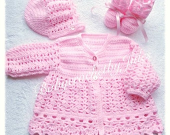 Baby Crochet Matinee Set, Crochet Baby Set, Crochet Baby Jacket, Crochet BabyBooties,Crochet Baby Hat, 0-3mths, Newborn, Handmade Crochet.