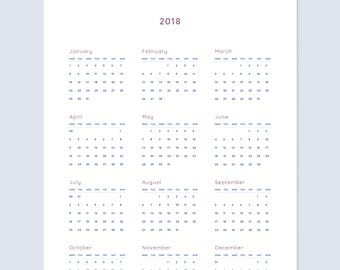 Wall Calendar 2018   A4 and Letter   Printable Downloadable Single Page 12 Month Full Year Desk Wall Planner Display Calendar   Colour Blue