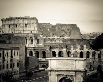 Rome Italy - Roman Forum - Architecture - Black and White - Sepia - Fine Art Photograph - Roman Coliseum and Arch