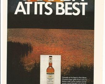 1971 Advertisement Canadian Mist Whisky Sunset Lake Orange Red Mountains Canada  Bar Pub Wall Art Decor