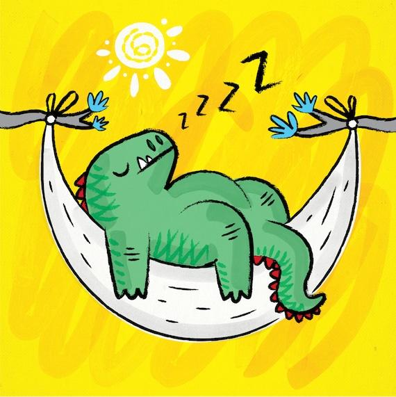 DiNOSNORE - Childrens Dinosaur art - Funny illustration - poster print by Oliver Lake - iOTA iLLUSTRATiON