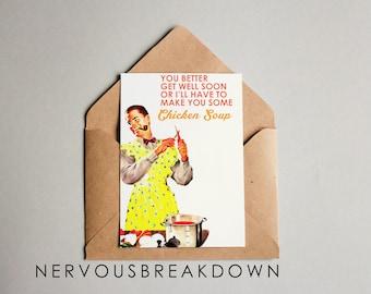 Get Well Soon Card Retro Card -