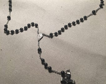 Vintage Rosary stamped Ebony France and Italy