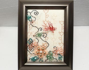 Embroidered Framed Fiber Art Butterfly Garden -Peach Tranquility with red tatted butterfly glass pearls peach green blackwork hand stitched