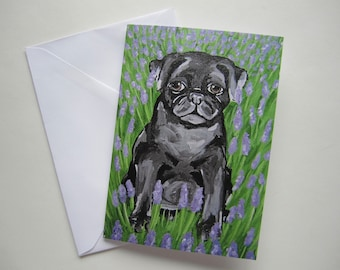 Black Pug with Lavender Greeting Card, Pug with Flowers Card, Black Pug Greeting Card with Flowers by Amber Maki