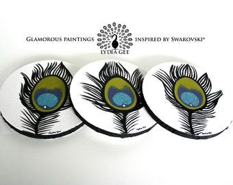 Acrylic painting Swarovski® crystal & glitter. Peacock feather round wall art. Round painting. Round art. Glitter painting. Original canvas.