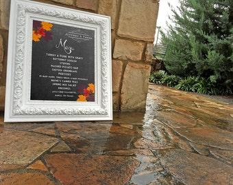 Wedding Menu   Printable   Menu Board   Wedding Menu Template   Wedding Sign   Customized   Fall Wedding   DIGITAL DESIGN   Download