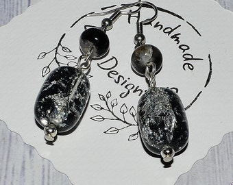 Black Earrings Handmade - Dangle Drop Earrings - SURGICAL STEEL Ear Wire - Gift For Her - Black and Clear Crystal Earrings - Black Jewelry