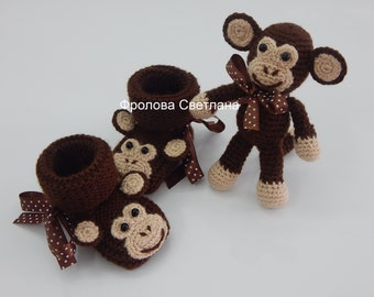Baby booties , Baby boy, Baby girl, Knitted baby booties, baby booties,monkey booties and toy.Handmade Little Monkey Baby Booties