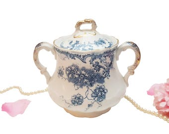 Antique Colonial Pottery Jar, Blue Floral Transferware Jar, Double Handled, Made in England, Sugar Jar