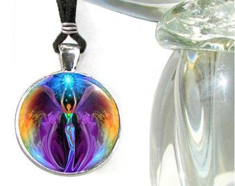 "Angel Necklace, Reiki Attuned Energy Pendant, Chakra Jewelry ""Embrace Light"""