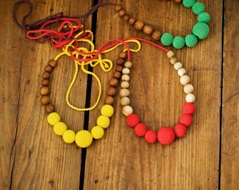 Choose Your Color - Simple Nursing Necklace / Baby Teething Necklace - Wooden Breastfeeding Necklaces and Babywearing Jewelry Handmade