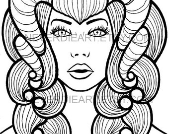 Digital Download Print Your Own Coloring Book Outline Page - Horned Girl by Carissa Rose