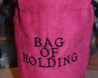 Dice Bag Embroidery Suede Pink Bag of holding