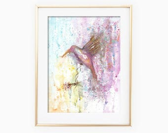 Hummingbird Watercolor, Hummingbird Painting, Hummingbird Art, Hummingbird Wall Art, Bird Watercolor, Bird Painting, Bird Wall Art, Bird Art