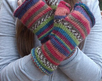Fingerless gloves striped wool hand knit - Picasso
