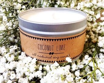 COCONUT LIME Soy Candle // Summer Gift Gift for Her Beach Decor Eco Friendly Candles Handmade Candles Contemporary Decor Bathroom Decor