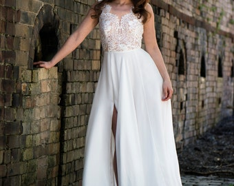 SPECIAL 20% OFF Cheeky V Neck and Low V Back Silk and Lace Wedding Dress with Split Iris