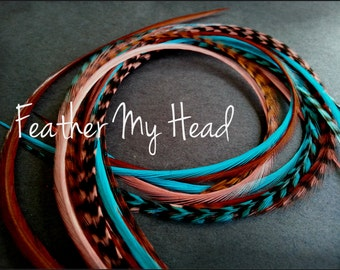 """16 Feather Hair Extensions Long 9""""-12"""" (22.86-30.48cm) Turquoise Brown Coral - No Beads - Premium Whiting Sante Fe Mix"""