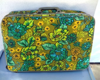 Vintage Avocado green Flower Suitcase - Mod Retro Travel Case Luggage with Funky 70's Floral Pattern