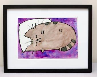 The sleepy grey cat named Pushen
