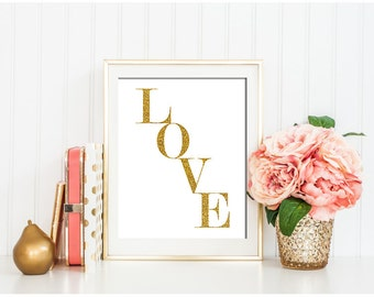 Love print, Love printable, Love Wall Art, Love art print, Love sign, Gold Love Print, Valentines gift, Gold Wall Art, Gold wall decor