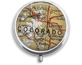 Pill Box, Colorado Pill Organizer, Denver Pill Case, Craft Storage, Nurses Pill Organizer, Nurse Gifts, Decorative pillbox, Pill Container