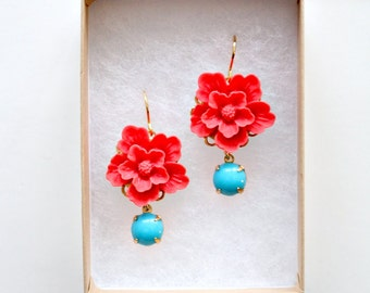 Red Flower Dangle Earrings, Red Flower Earrings, Cherry blossom Earrings, Red Earrings, Nature Lover Gift, Sakura Earrings, floral earrings