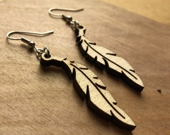 Wood Feather Earrings- Laser Engraved