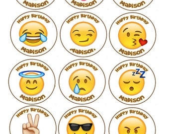 Emoji image Edible cookie toppers cupcake tops party decoration birthday tranfers 1 dozen wafer paper