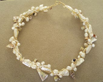 Biwa Pearl and Large Everlasting Shell Necklace