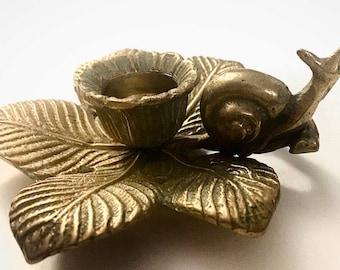 Sweetest Set of 2 Vintage Brass Snail Candleholders