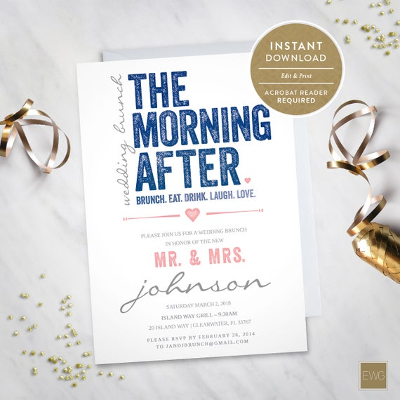 After Wedding Brunch Invitation: The Morning After Wedding Brunch Invitation Instant