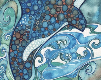 ORCA - Killer Whale 5 x 7 print of detailed watercolour artwork in turquoise teal and earth tones, sea ocean marine porpoise dolphin wave