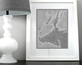 New York Harbor Nautical Chart Map 1963 Dark Grey DIGITAL PRINT for Download 16 x 20, Map Art Prints, Printable Art, Chart Maps