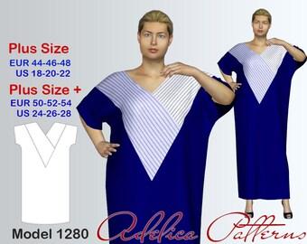 Plus size Maxi Dress Sewing Pattern PDF, Women's sizes 18-28, Loose fitting dress with geometric blocks sewing pattern