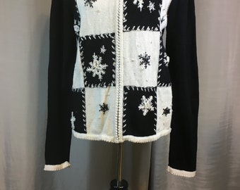 Vintage Black and White Christmas Snow Flake Sweater with Sequins & Beads Ugly Christmas Sweater Ladies Small Previously 23 Dollars ON SALE