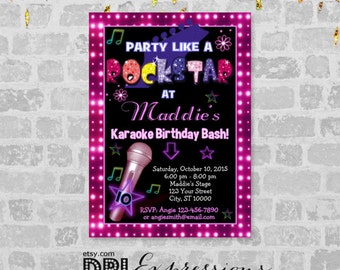 Karaoke invitation Etsy
