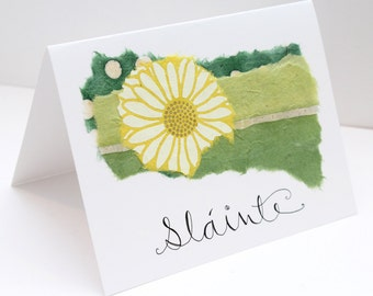 Slainte card etsy slinte card congratulations card cheers card irish card graduation card handmade handlettered collaged green and yellow m4hsunfo