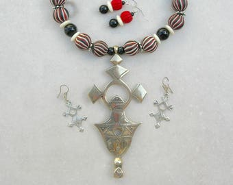 Majestic Old Tuareg Compass Cross Pendant, Rare Old Nepalese Glass Beads & Onyx, 2 Prs Earrings, Statement Necklace Set by SandraDesigns