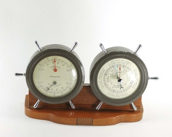 Vintage Airguide Ship's Wheel Weather Station Desktop Barometer Thermometer and Humidity Hygrometer Nautical Decor