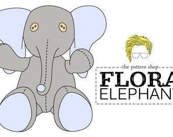 Flora Elephant Stuffed Animal Sewing Pattern