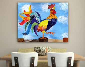 Mother's day gift, Rooster painting, Rooster wall art, Christmas gift, Rooster kitchen decor, wedding gift, Bohemian decor, Rooster print