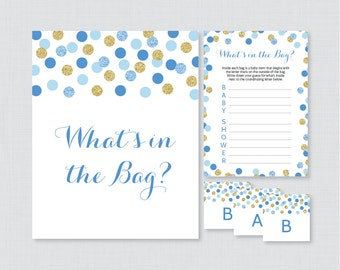 Blue Baby Shower Bags Game Printable   Guess Whatu0027s In The Bag Game   Blue  And Gold Glitter Polka Dots Baby Shower Bag Game Activity 0008 B